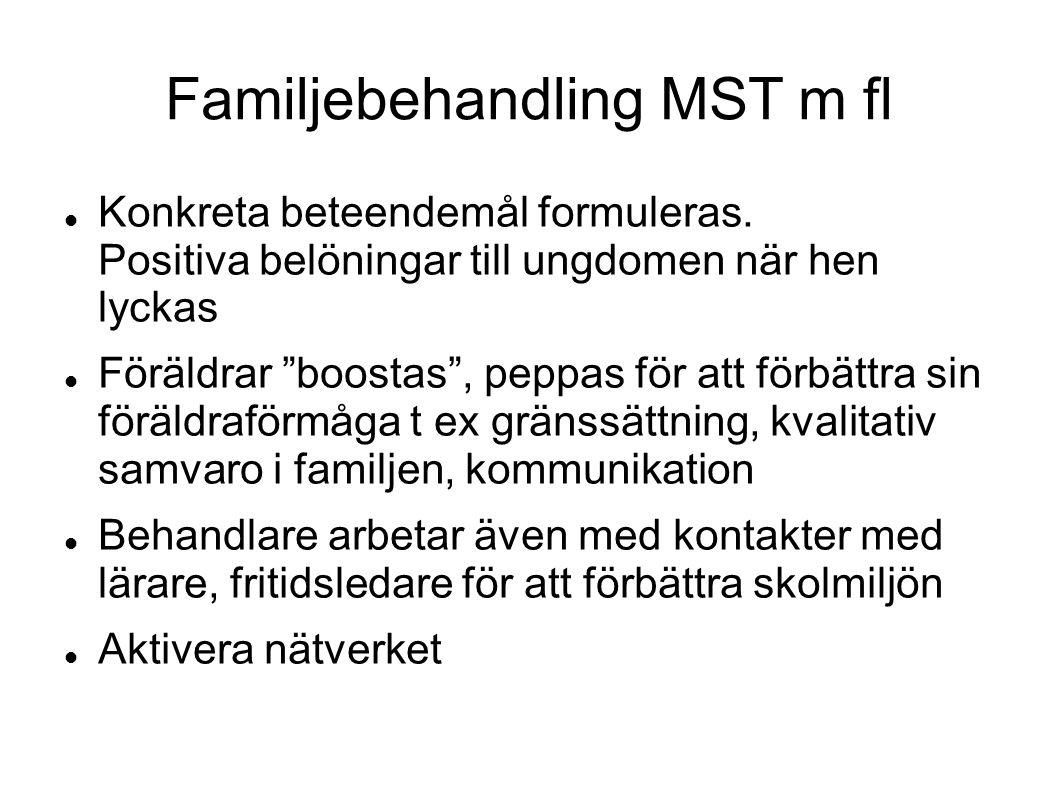 """Familjebehandling MST m fl Konkreta beteendemål formuleras. Positiva belöningar till ungdomen när hen lyckas Föräldrar """"boostas"""", peppas för att förbä"""