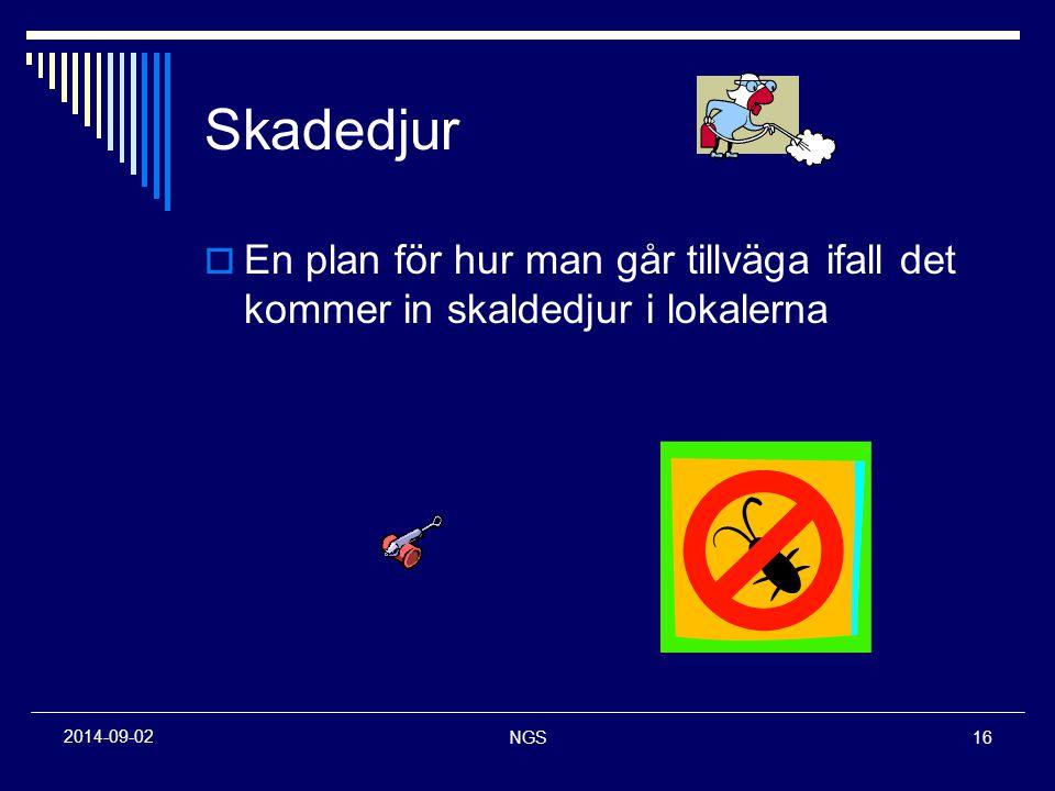 NGS16 2014-09-02 Skadedjur  En plan för hur man går tillväga ifall det kommer in skaldedjur i lokalerna