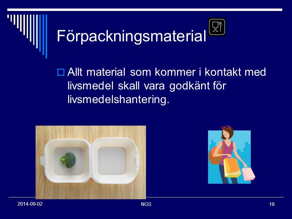 NGS18 2014-09-02 Förpackningsmaterial  Allt material som kommer i kontakt med livsmedel skall vara godkänt för livsmedelshantering.