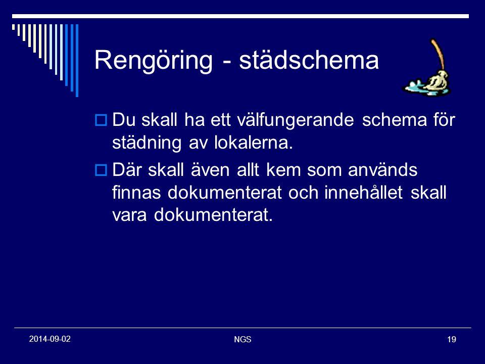 NGS19 2014-09-02 Rengöring - städschema  Du skall ha ett välfungerande schema för städning av lokalerna.  Där skall även allt kem som används finnas