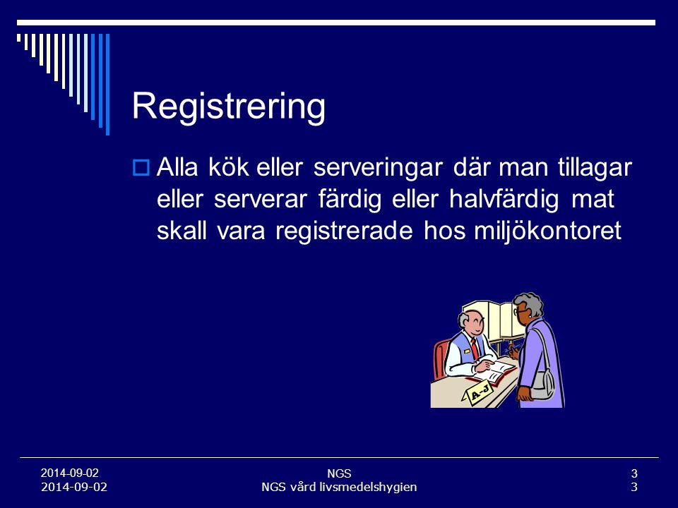 NGS3 2014-09-02 Registrering  Alla kök eller serveringar där man tillagar eller serverar färdig eller halvfärdig mat skall vara registrerade hos milj