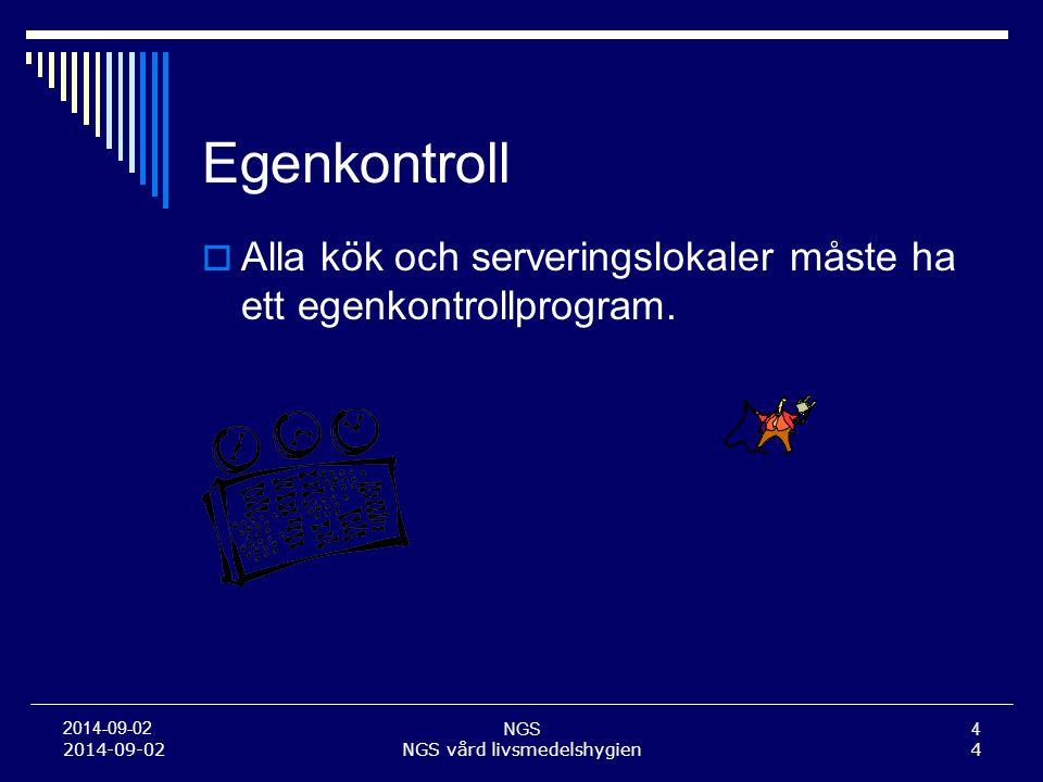 NGS4 2014-09-02 Egenkontroll  Alla kök och serveringslokaler måste ha ett egenkontrollprogram. 2014-09-02NGS vård livsmedelshygien4