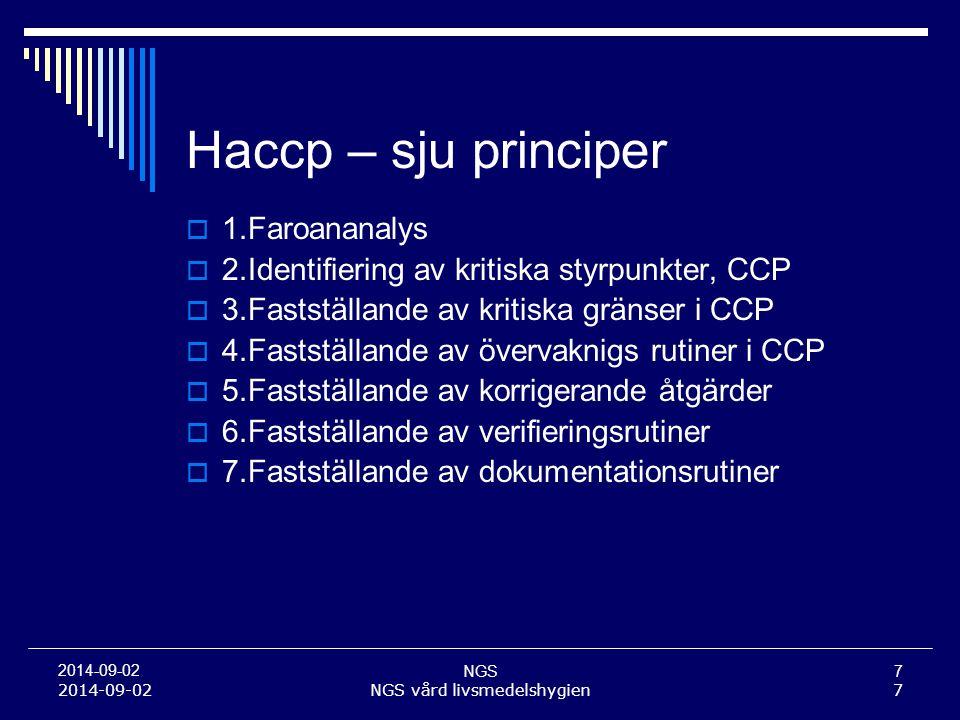 NGS7 2014-09-02 NGS vård livsmedelshygien7 Haccp – sju principer  1.Faroananalys  2.Identifiering av kritiska styrpunkter, CCP  3.Fastställande av