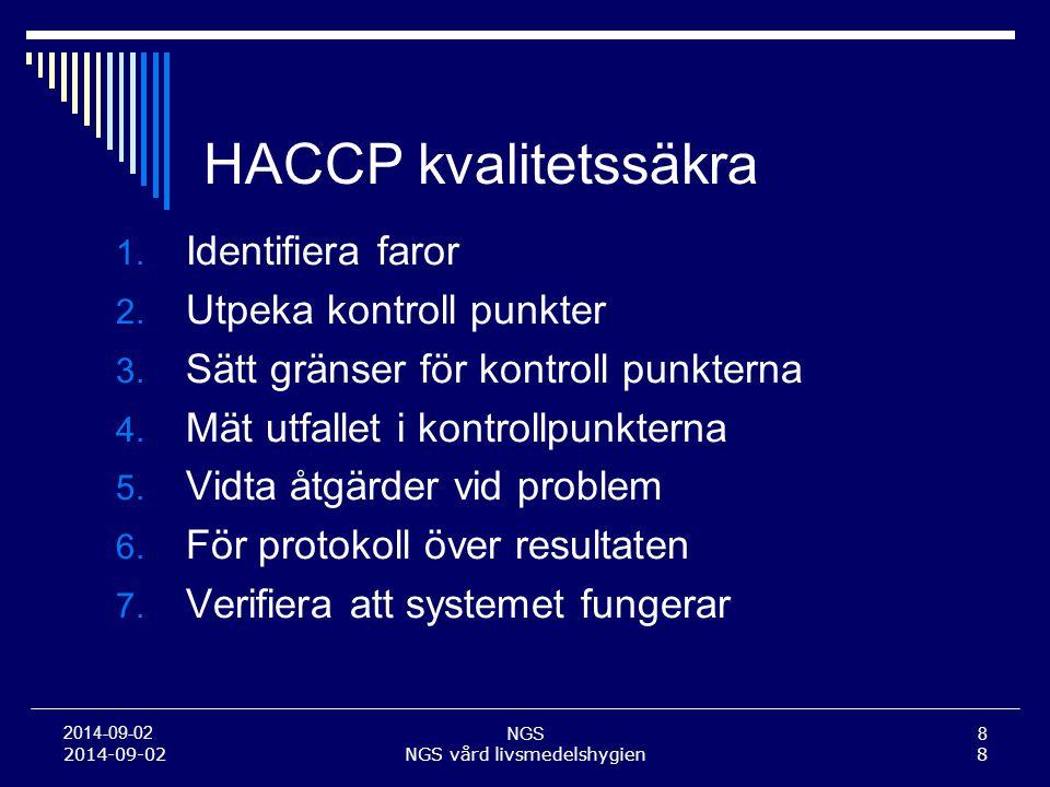 NGS8 2014-09-02 NGS vård livsmedelshygien8 HACCP kvalitetssäkra 1. Identifiera faror 2. Utpeka kontroll punkter 3. Sätt gränser för kontroll punkterna