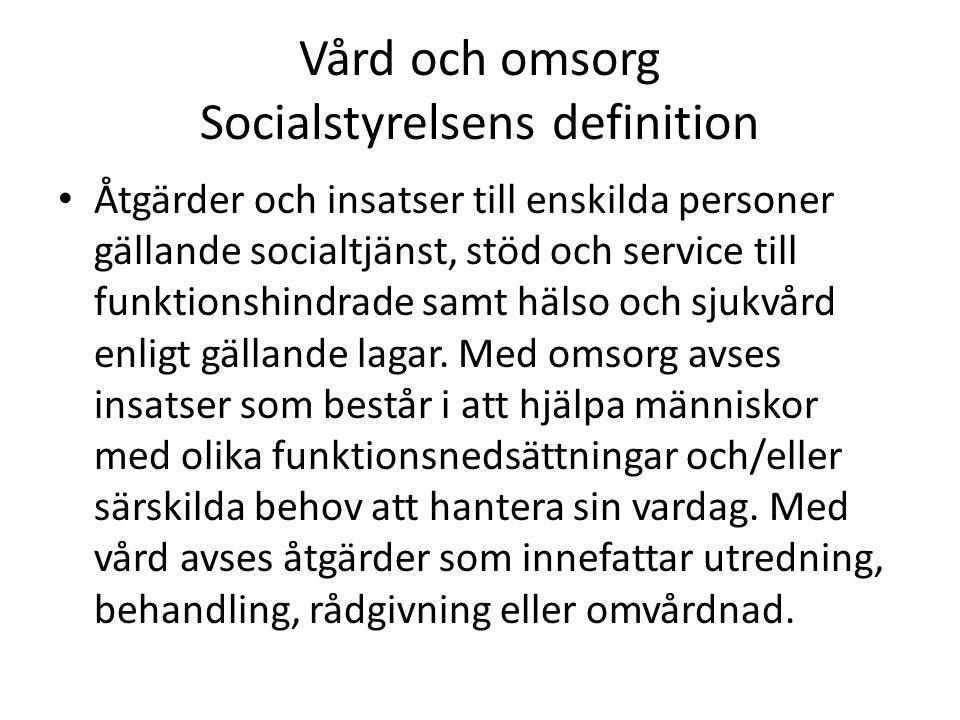 Vård och omsorg Socialstyrelsens definition Åtgärder och insatser till enskilda personer gällande socialtjänst, stöd och service till funktionshindrad