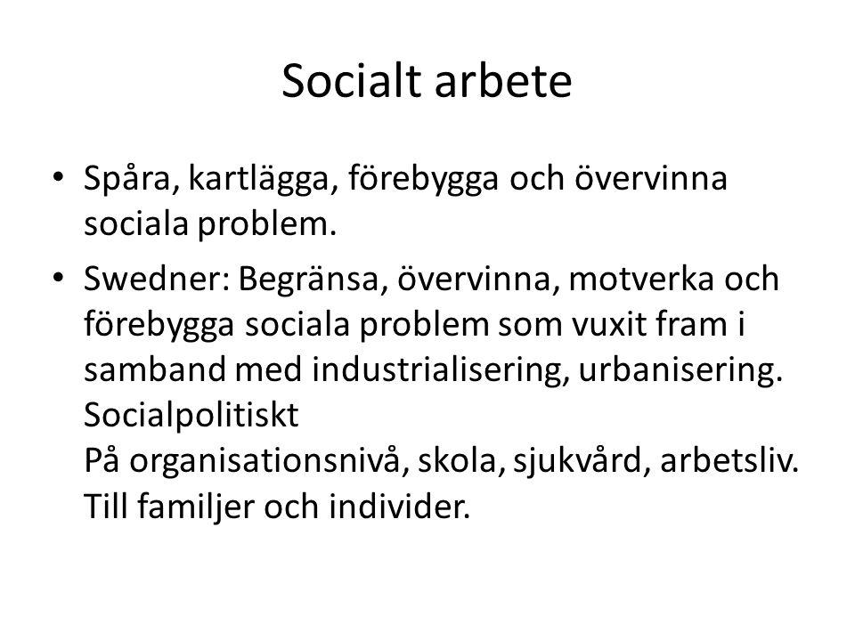 Socialt arbete Spåra, kartlägga, förebygga och övervinna sociala problem. Swedner: Begränsa, övervinna, motverka och förebygga sociala problem som vux