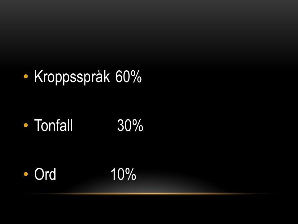 Kroppsspråk 60% Tonfall 30% Ord 10%