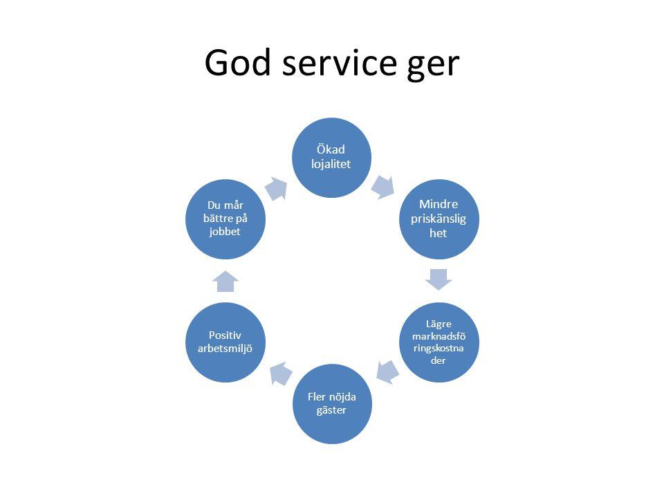 God service ger Ökad lojalitet Mindre priskänslig het Lägre marknadsfö ringskostna der Fler nöjda gäster Positiv arbetsmiljö Du mår bättre på jobbet