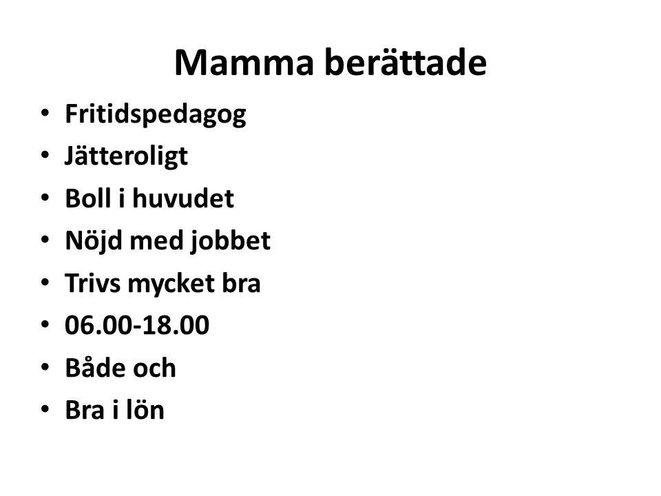 Mamma berättade Fritidspedagog Jätteroligt Boll i huvudet Nöjd med jobbet Trivs mycket bra 06.00-18.00 Både och Bra i lön