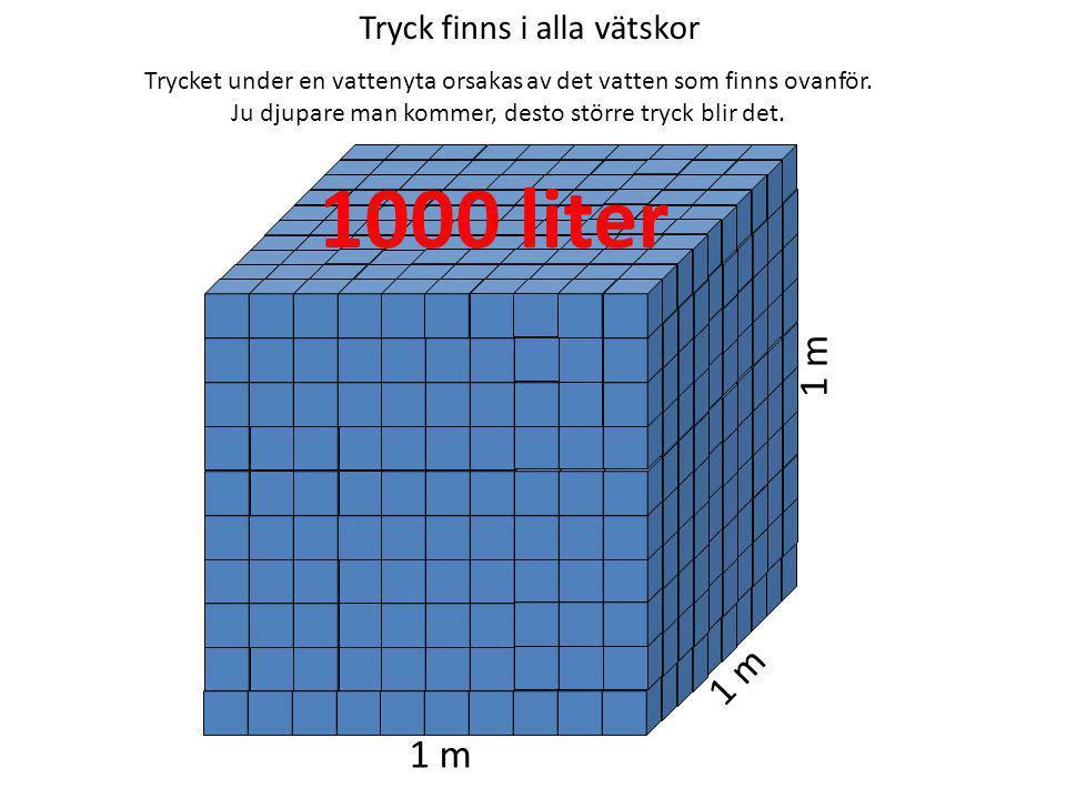 Flyta eller sjunka – densiteten avgör 1 dm 3 JÄRN 7,8 kg 1 dm 3 TRÄ 0,5 kg 1 dm 3 VATTEN 1 kg Föremål flyter om det har lägre densitet än vätskan.