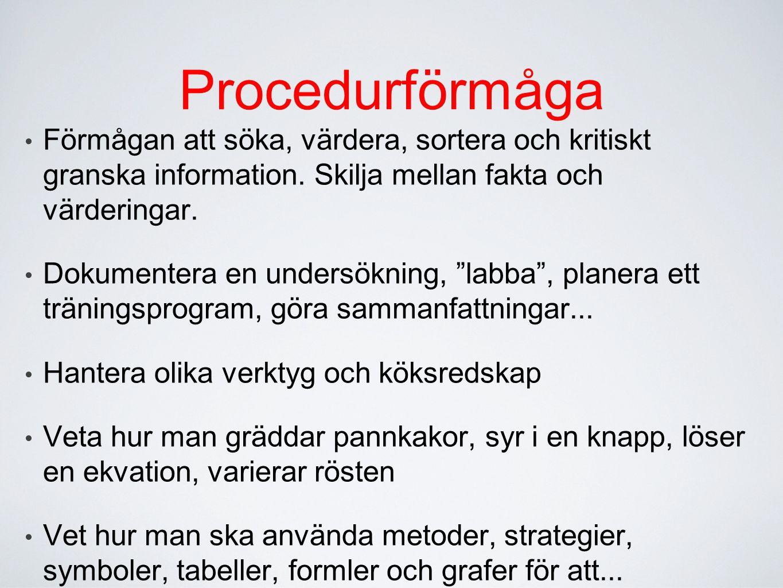 Procedurförmåga Förmågan att söka, värdera, sortera och kritiskt granska information. Skilja mellan fakta och värderingar. Dokumentera en undersökning