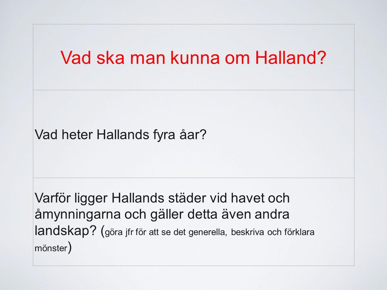 Vad ska man kunna om Halland? Vad heter Hallands fyra åar? Varför ligger Hallands städer vid havet och åmynningarna och gäller detta även andra landsk