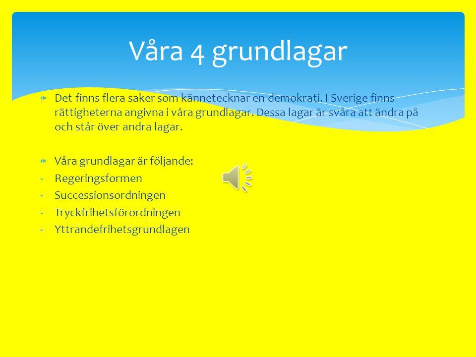  Demokrati betyder folkstyre.  Sverige är en demokrati. Det innebär att folket får vara med och bestämma.  Sverige är en representativ demokrati. D
