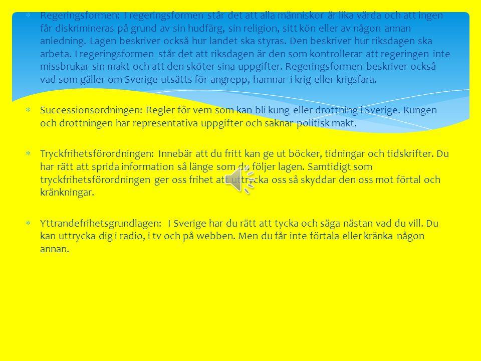  Det finns flera saker som kännetecknar en demokrati. I Sverige finns rättigheterna angivna i våra grundlagar. Dessa lagar är svåra att ändra på och