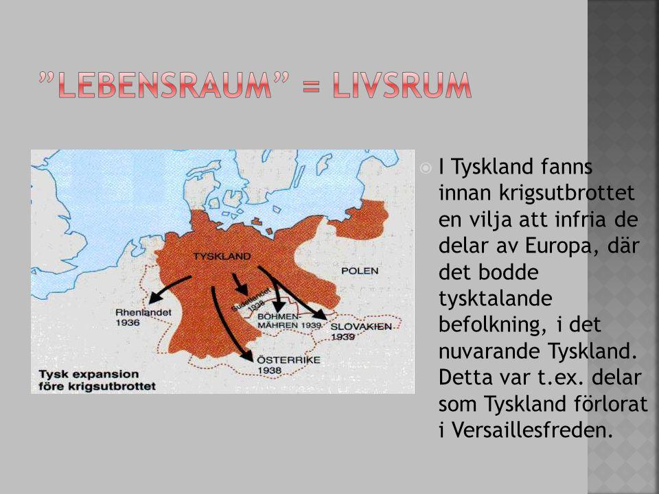  I Tyskland fanns innan krigsutbrottet en vilja att infria de delar av Europa, där det bodde tysktalande befolkning, i det nuvarande Tyskland. Detta