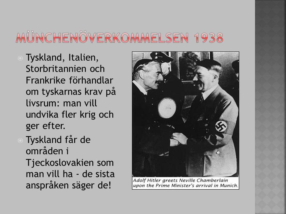  Tyskland, Italien, Storbritannien och Frankrike förhandlar om tyskarnas krav på livsrum: man vill undvika fler krig och ger efter.  Tyskland får de