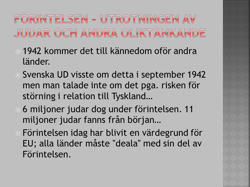  1942 kommer det till kännedom oför andra länder.  Svenska UD visste om detta i september 1942 men man talade inte om det pga. risken för störning i