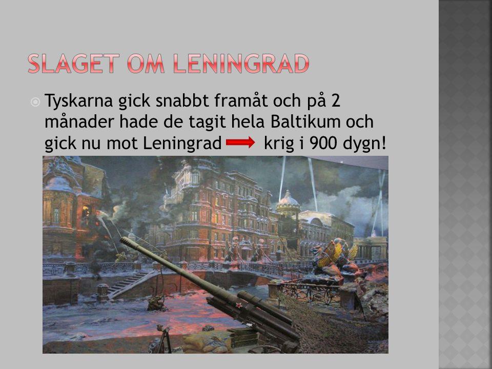 Tyskarna gick snabbt framåt och på 2 månader hade de tagit hela Baltikum och gick nu mot Leningrad krig i 900 dygn!