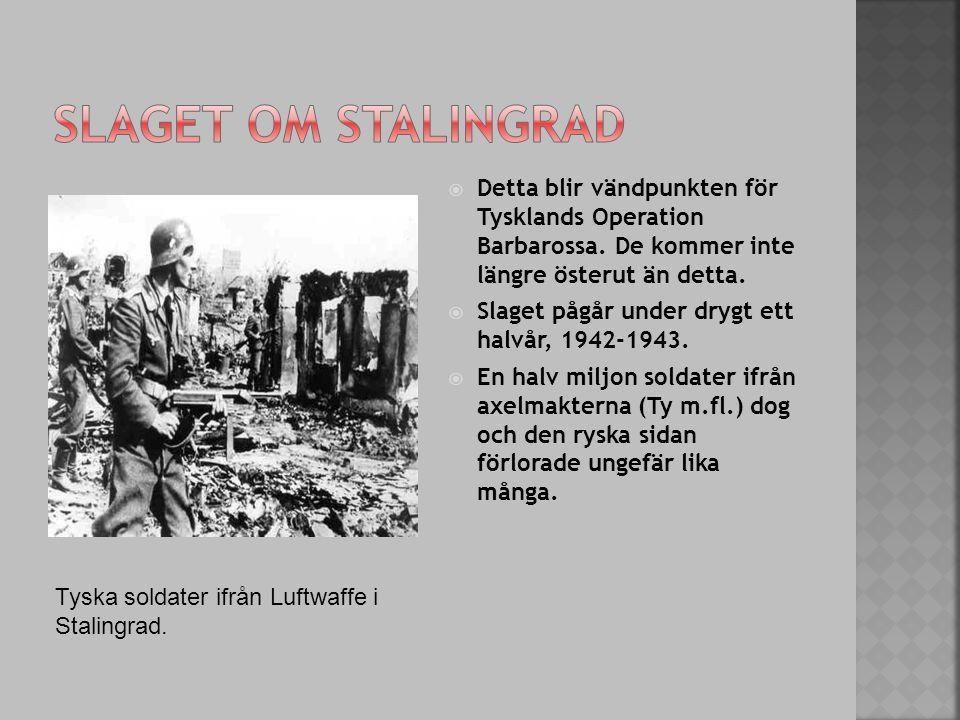 Detta blir vändpunkten för Tysklands Operation Barbarossa. De kommer inte längre österut än detta.  Slaget pågår under drygt ett halvår, 1942-1943.
