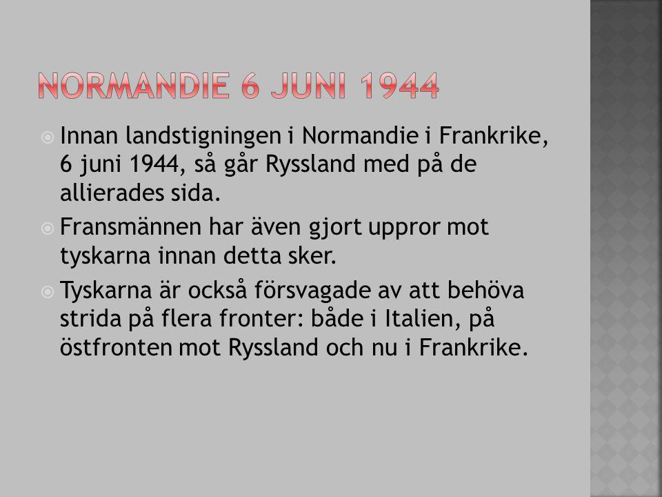  Innan landstigningen i Normandie i Frankrike, 6 juni 1944, så går Ryssland med på de allierades sida.  Fransmännen har även gjort uppror mot tyskar