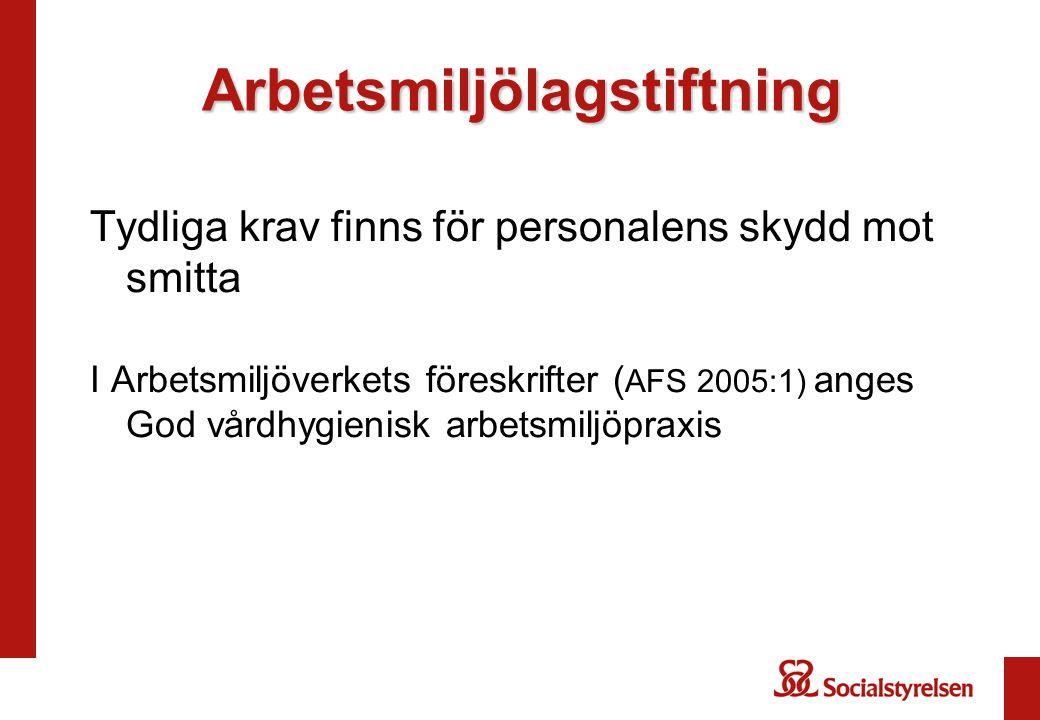 Arbetsmiljölagstiftning Tydliga krav finns för personalens skydd mot smitta I Arbetsmiljöverkets föreskrifter ( AFS 2005:1) anges God vårdhygienisk ar