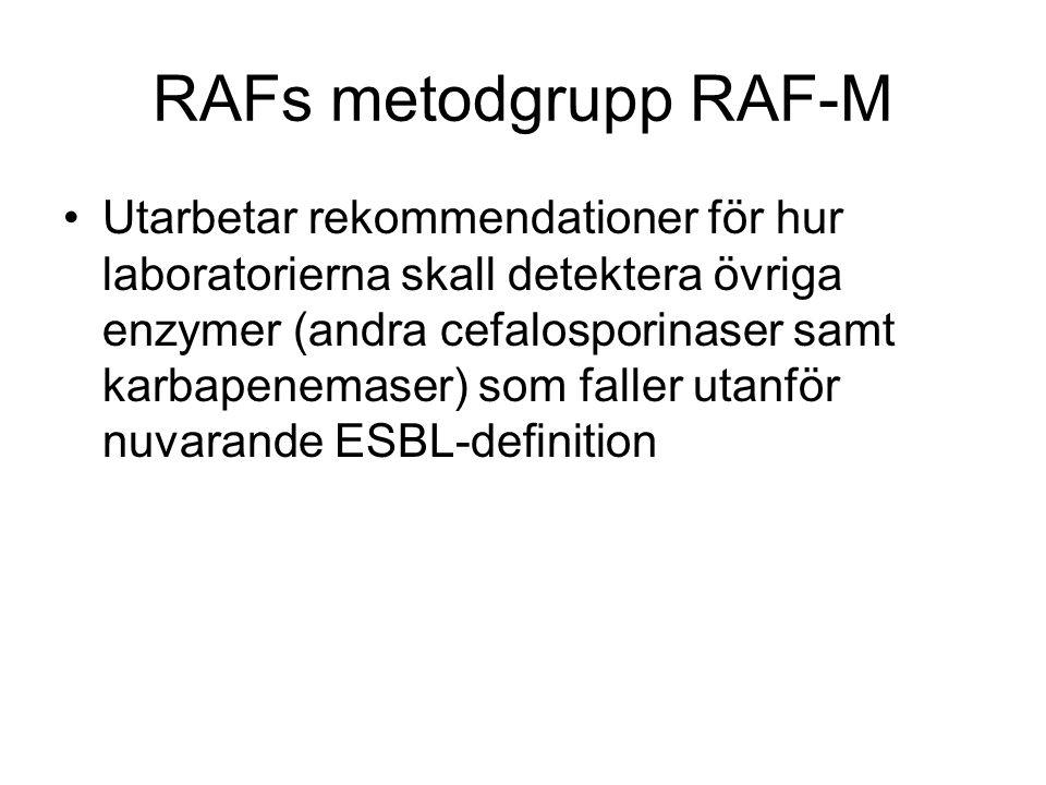 RAFs metodgrupp RAF-M Utarbetar rekommendationer för hur laboratorierna skall detektera övriga enzymer (andra cefalosporinaser samt karbapenemaser) so