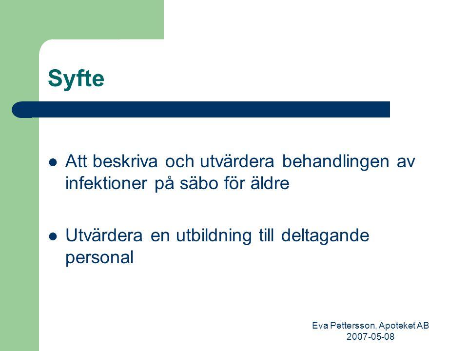Eva Pettersson, Apoteket AB 2007-05-08 Särskilda boendens antibiotikaanvändning SANT-studien Inbjudan att delta gick ut till alla MAS 58 särskilda boenden från Haparanda i norr till Malmö i söder 1.Registrering av diagnoser och antibiotikaanvändning under 3 månader 2.Utbildning för deltagande sjuksköterskor och läkare (utbildare = läkare, apotekare och hygiensjuksköterska) 3.Upprepning av registrering under 3 månader för att se om förskrivningen av antibiotika hade förändrats