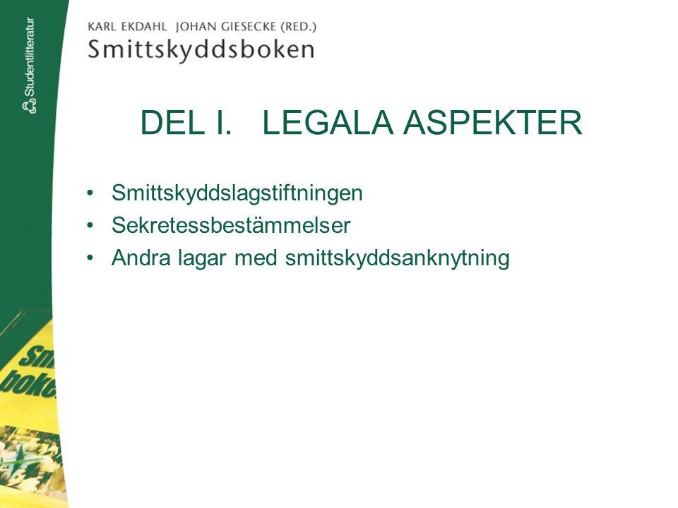 DEL I. LEGALA ASPEKTER Smittskyddslagstiftningen Sekretessbestämmelser Andra lagar med smittskyddsanknytning