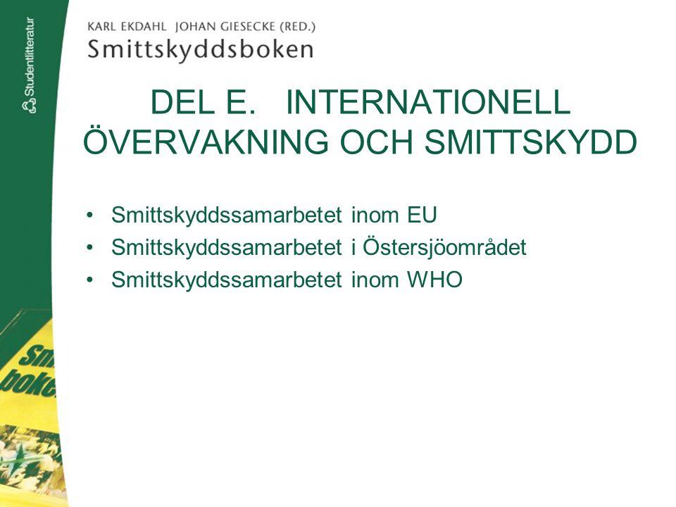 DEL E. INTERNATIONELL ÖVERVAKNING OCH SMITTSKYDD Smittskyddssamarbetet inom EU Smittskyddssamarbetet i Östersjöområdet Smittskyddssamarbetet inom WHO