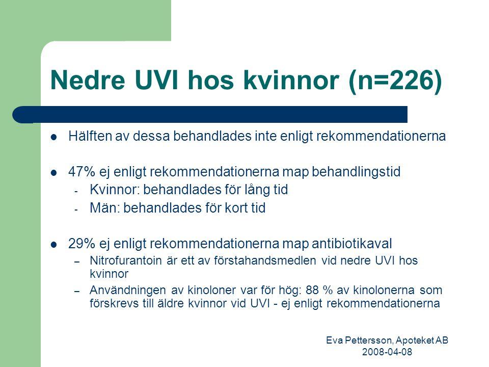 Eva Pettersson, Apoteket AB 2008-04-08 Nedre UVI hos kvinnor (n=226) Hälften av dessa behandlades inte enligt rekommendationerna 47% ej enligt rekommendationerna map behandlingstid - Kvinnor: behandlades för lång tid - Män: behandlades för kort tid 29% ej enligt rekommendationerna map antibiotikaval – Nitrofurantoin är ett av förstahandsmedlen vid nedre UVI hos kvinnor – Användningen av kinoloner var för hög: 88 % av kinolonerna som förskrevs till äldre kvinnor vid UVI - ej enligt rekommendationerna
