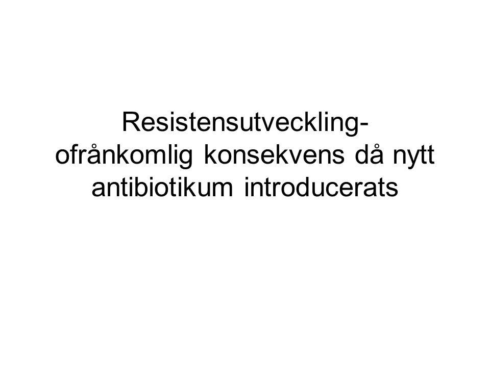 Antibiotikahistorik Staphylococcus aureus Penicillin Penicillinas Penicillinas- stabila penicilliner Methicillinresistens (MRSA) Multiresistens VankomycinLinezolid Linezolidresistens Vankomycin- resistens (VRSA) 200019501940