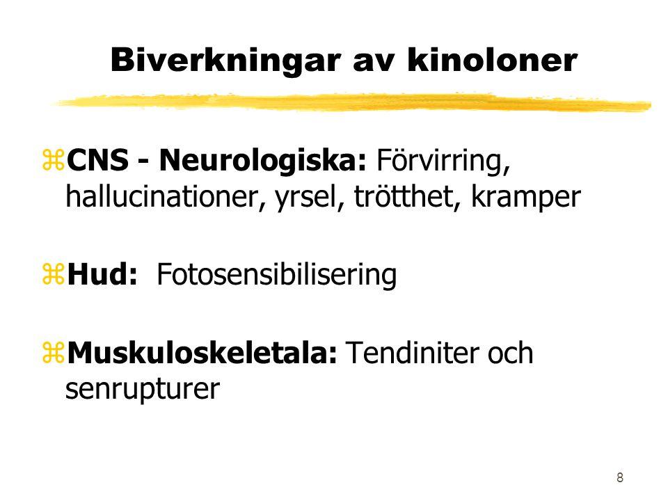 8 Biverkningar av kinoloner zCNS - Neurologiska: Förvirring, hallucinationer, yrsel, trötthet, kramper zHud: Fotosensibilisering zMuskuloskeletala: Te