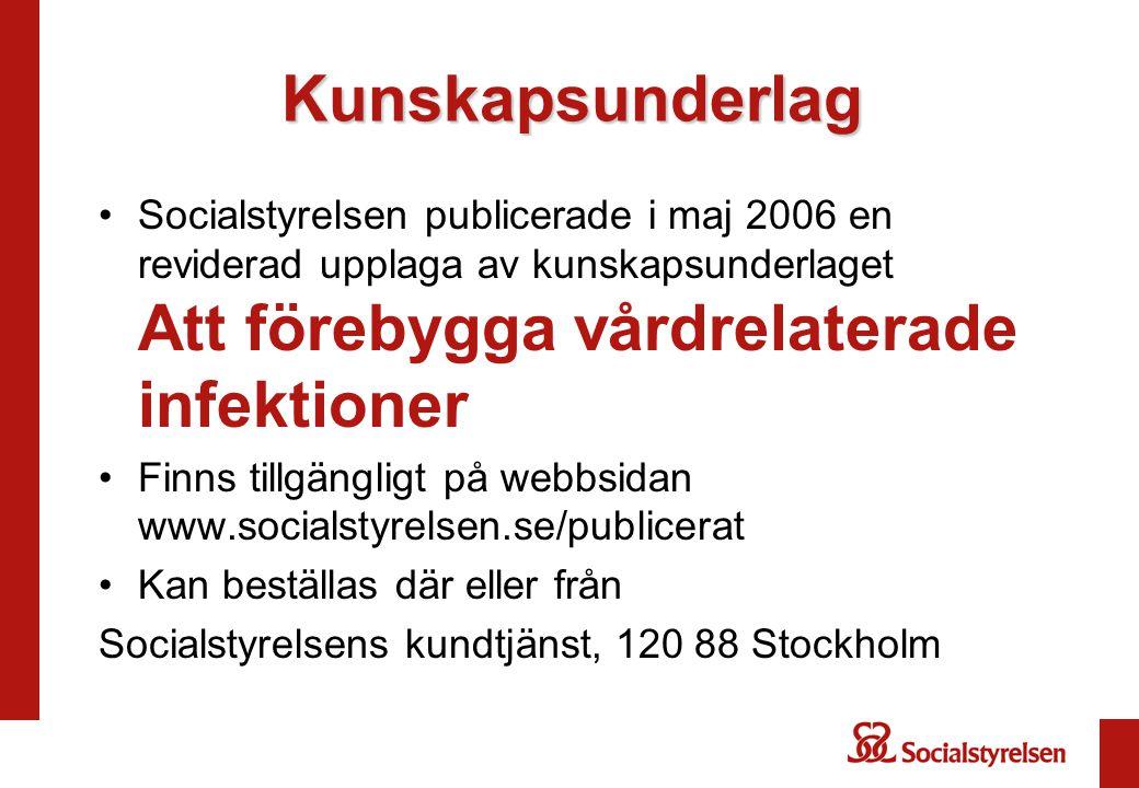 Kunskapsunderlag Socialstyrelsen publicerade i maj 2006 en reviderad upplaga av kunskapsunderlaget Att förebygga vårdrelaterade infektioner Finns tillgängligt på webbsidan www.socialstyrelsen.se/publicerat Kan beställas där eller från Socialstyrelsens kundtjänst, 120 88 Stockholm