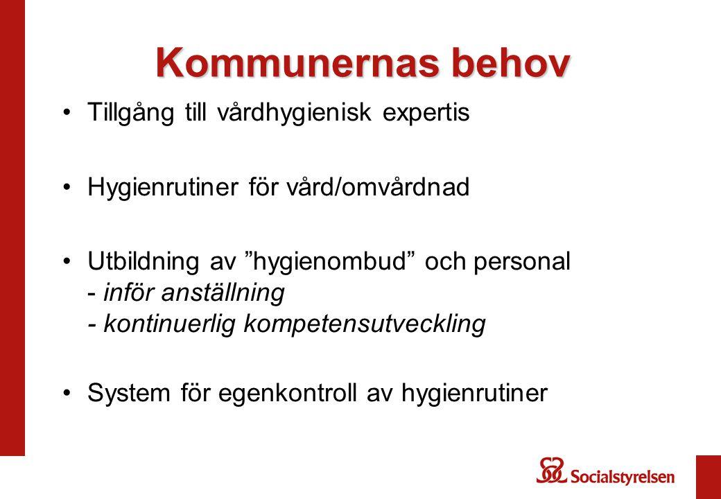 Kommunernas behov Tillgång till vårdhygienisk expertis Hygienrutiner för vård/omvårdnad Utbildning av hygienombud och personal - inför anställning - kontinuerlig kompetensutveckling System för egenkontroll av hygienrutiner