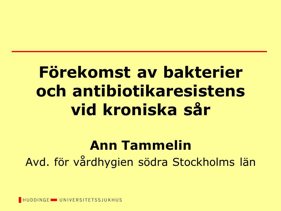 Förekomst av bakterier och antibiotikaresistens vid kroniska sår Ann Tammelin Avd. för vårdhygien södra Stockholms län
