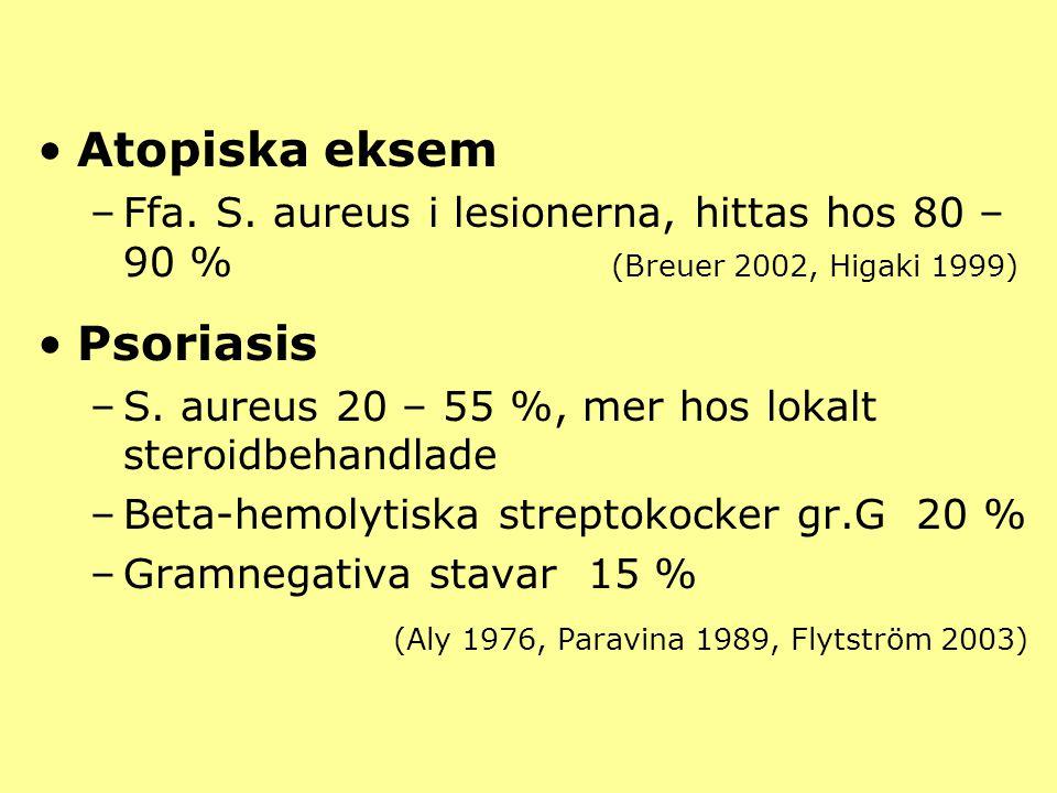 Atopiska eksem –Ffa. S. aureus i lesionerna, hittas hos 80 – 90 % (Breuer 2002, Higaki 1999) Psoriasis –S. aureus 20 – 55 %, mer hos lokalt steroidbeh