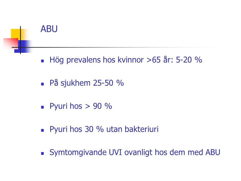 ABU Hög prevalens hos kvinnor >65 år: 5-20 % På sjukhem 25-50 % Pyuri hos > 90 % Pyuri hos 30 % utan bakteriuri Symtomgivande UVI ovanligt hos dem med