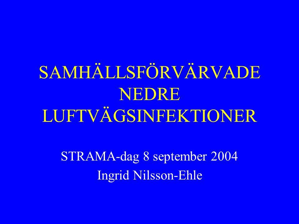 SAMHÄLLSFÖRVÄRVADE NEDRE LUFTVÄGSINFEKTIONER STRAMA-dag 8 september 2004 Ingrid Nilsson-Ehle