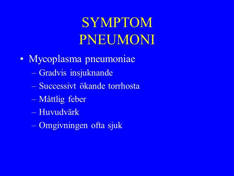 SYMPTOM PNEUMONI Mycoplasma pneumoniae –Gradvis insjuknande –Successivt ökande torrhosta –Måttlig feber –Huvudvärk –Omgivningen ofta sjuk