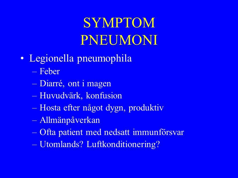 SYMPTOM PNEUMONI Legionella pneumophila –Feber –Diarré, ont i magen –Huvudvärk, konfusion –Hosta efter något dygn, produktiv –Allmänpåverkan –Ofta pat