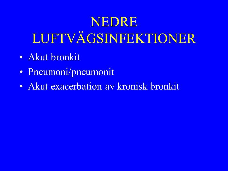 NEDRE LUFTVÄGSINFEKTIONER Akut bronkit Pneumoni/pneumonit Akut exacerbation av kronisk bronkit