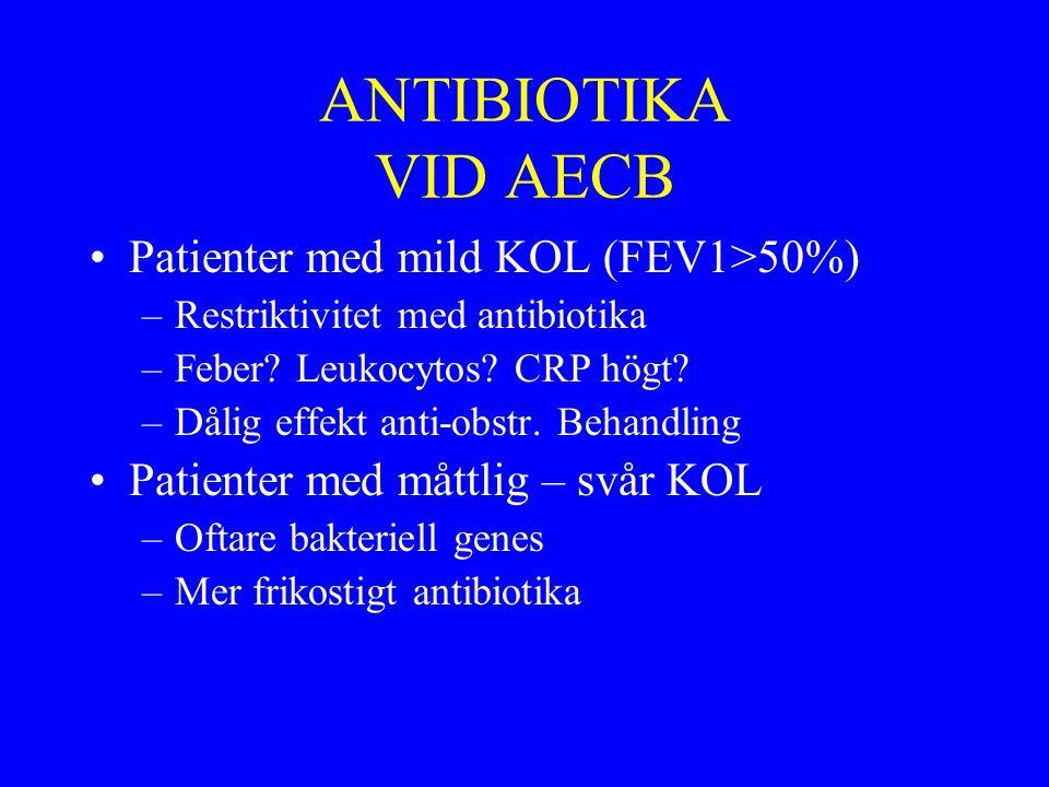 ANTIBIOTIKA VID AECB Patienter med mild KOL (FEV1>50%) –Restriktivitet med antibiotika –Feber? Leukocytos? CRP högt? –Dålig effekt anti-obstr. Behandl