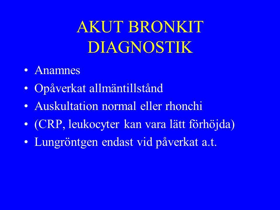 BEHANDLING AKUT BRONKIT Symptomatisk –Hostdämpande v.b.