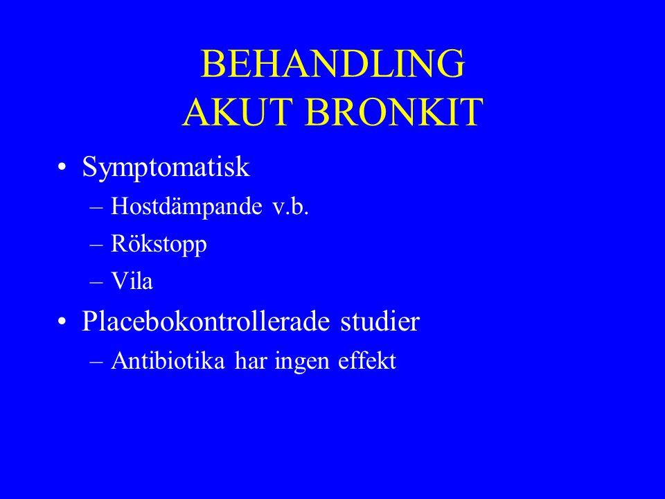 BEHANDLING AKUT BRONKIT Symptomatisk –Hostdämpande v.b. –Rökstopp –Vila Placebokontrollerade studier –Antibiotika har ingen effekt