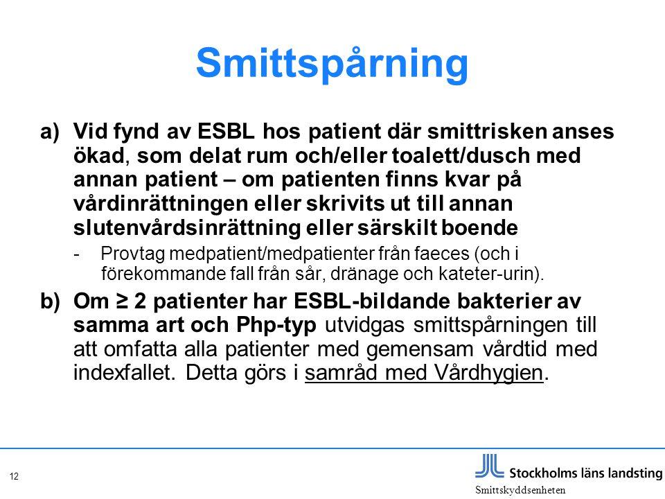 Smittskyddsenheten 12 Smittspårning a)Vid fynd av ESBL hos patient där smittrisken anses ökad, som delat rum och/eller toalett/dusch med annan patient