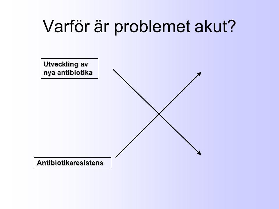 Varför är problemet akut? Antibiotikaresistens Utveckling av nya antibiotika