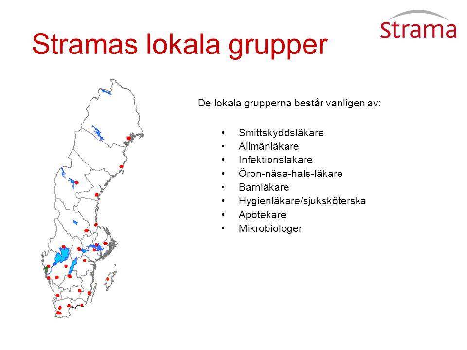Stramas lokala grupper De lokala grupperna består vanligen av: Smittskyddsläkare Allmänläkare Infektionsläkare Öron-näsa-hals-läkare Barnläkare Hygienläkare/sjuksköterska Apotekare Mikrobiologer