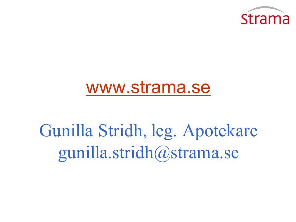 www.strama.se Gunilla Stridh, leg. Apotekare gunilla.stridh@strama.se