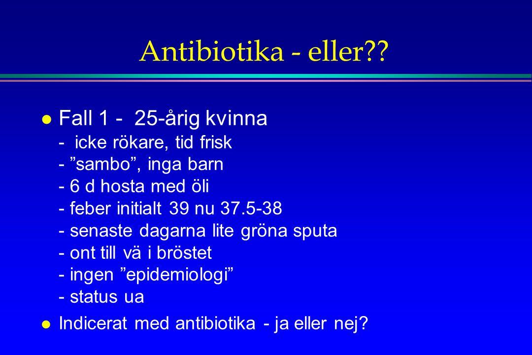 """Antibiotika - eller?? l Fall 1 - 25-årig kvinna - icke rökare, tid frisk - """"sambo"""", inga barn - 6 d hosta med öli - feber initialt 39 nu 37.5-38 - sen"""