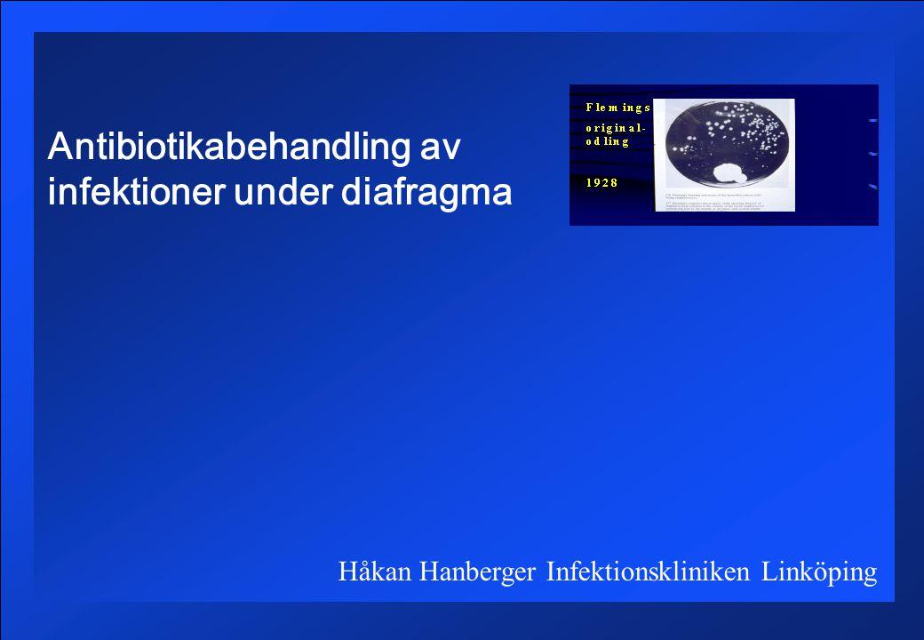 Antibiotikabehandling av infektioner under diafragma Håkan Hanberger Infektionskliniken Linköping